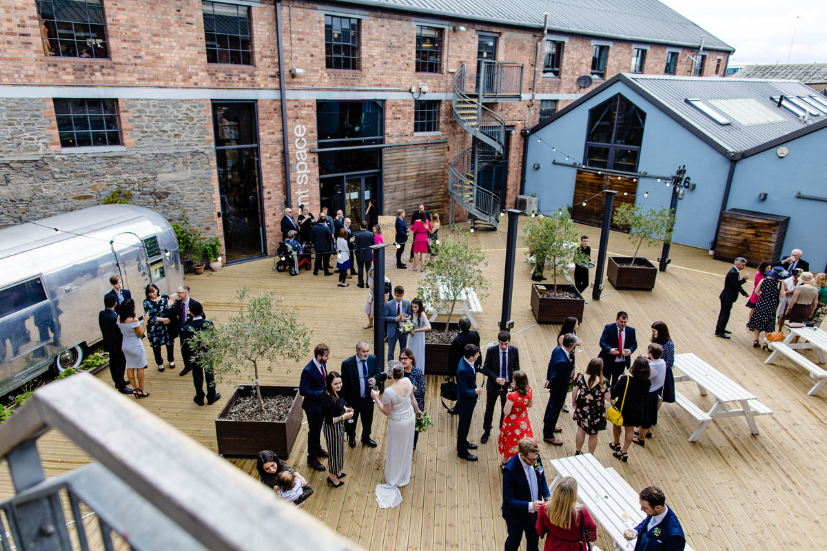 Outdoor space for wedding reception at Paintworks Paintworks Event Space, Bristol